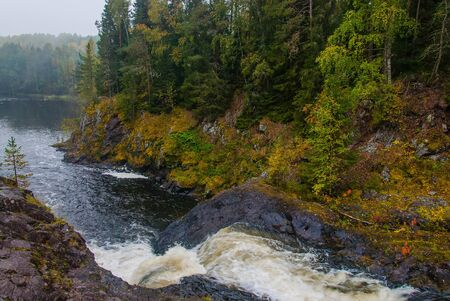 Kivach waterfall in Karelia, Russia. Nature landscape of the Russian north