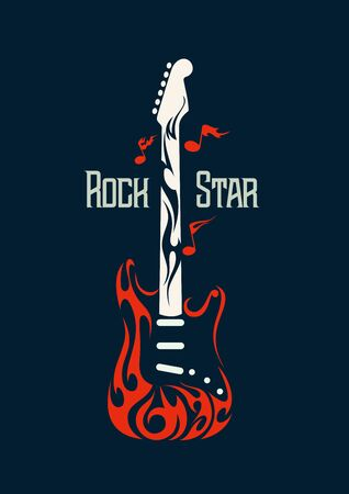 Vector image of an electric guitar in the form of flames. Rock and Roll Symbol Illustration