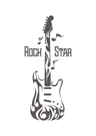 Vector image of an electric guitar in the form of flames. Rock and Roll Symbol Ilustração