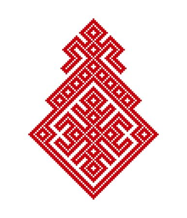 Russian old embroidery and pattern. Vector pattern of slavic ornament. Female fertility in traditional dress patterns of Slavic peoples
