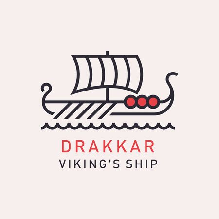 A stylized image of Drakkar Viking ship. The Rowing Ship of Norwegians and Dunn Ilustrace