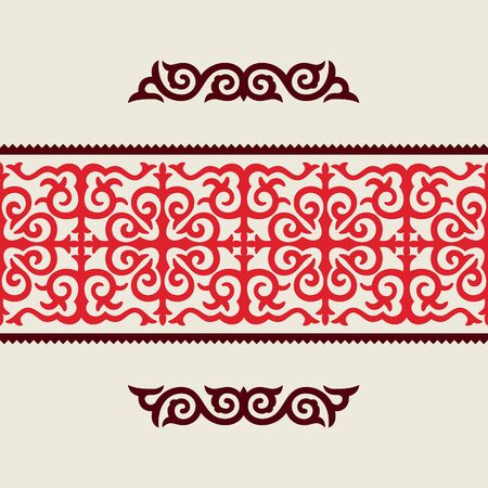 Traditional ornament of middle Asia for decoration of clothes and yurts. Nomadic ornament