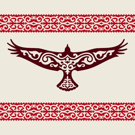 The symbol of Kazakhstan is a golden eagle with a traditional Kazakh ornament.