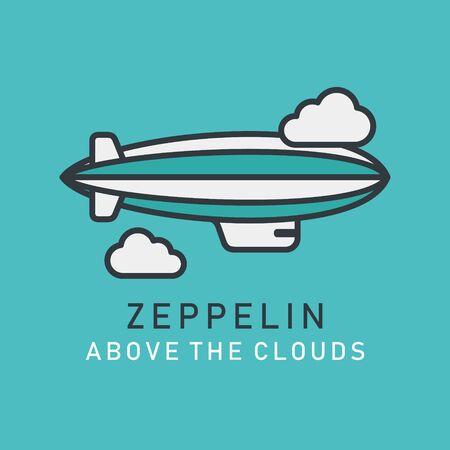 Flat image of zeppelin in lineart style. Airship blimp zeppelin