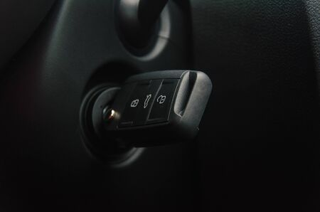 Car key in the ignition. Ignition lock and key