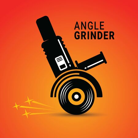 Manual angle grinder vector image. Silhouette of a working angle grinder
