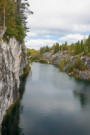 Ruskeala Mountain Park - Landmark of Russia. Marble mountain rock quarry landscape, Karelia