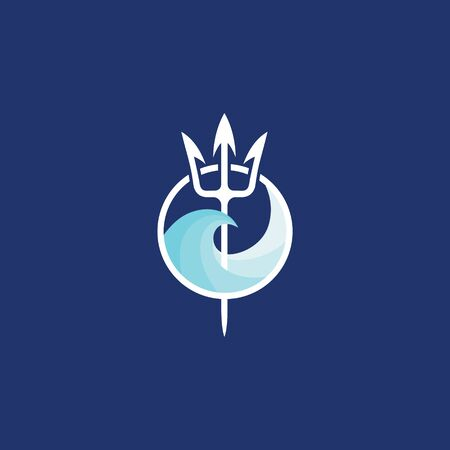 Neptune trident logo and sea wave. The symbol of the god of the seas is the trident of Poseidon.
