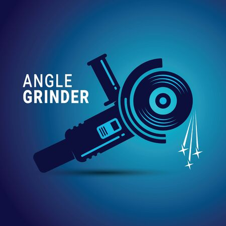 Manual angle grinder vector image. Silhouette of a working angle grinder Stock Illustratie