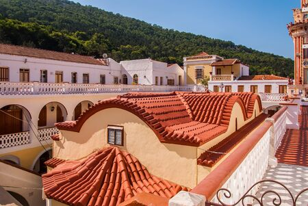 The roof of the monastery Panormitis. Symi Island, Greece Archivio Fotografico