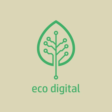 Leaf of wood with digital circuit board texture. Tree leaf icon in digital style