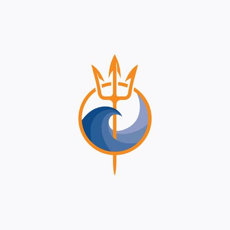 Neptune trident  and sea wave. The symbol of the god of the seas is the trident of Poseidon. 矢量图像