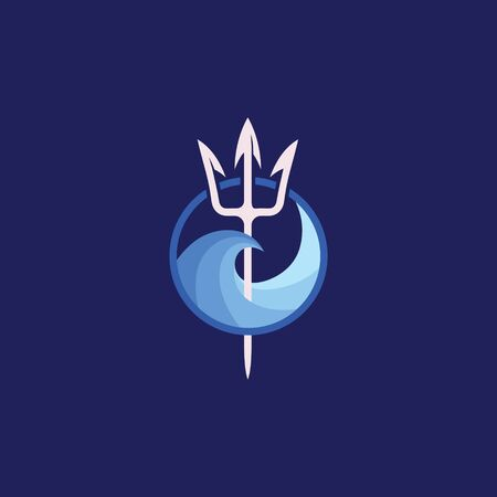 Neptune trident  and sea wave. The symbol of the god of the seas is the trident of Poseidon. Ilustração