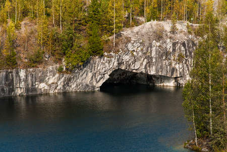 Ruskeala Mountain Park - Landmark of Russia. Marble mountain rock quarry landscape, Karelia