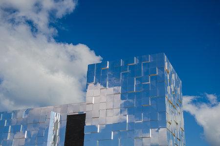 Nizhny Novgorod, Russia - August, 2020: Mirrored facade of the new Nizhny Novgorod fair