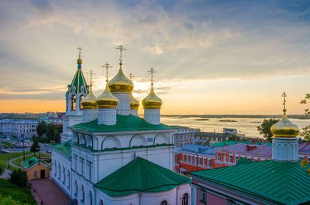 Golden domes of the Church of the Nativity of John the Baptist in Nizhny Novgorod