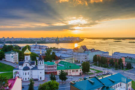 Nizhny Novgorod, Russia - August, 2020: Panorama of Nizhny Novgorod overlooking the Temple of the Kazan Icon of the Mother of God and the Oka and Volga rivers