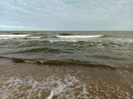Baltic Sea coast in Svetlogorsk. The waves approaching the shore of the Baltic Sea