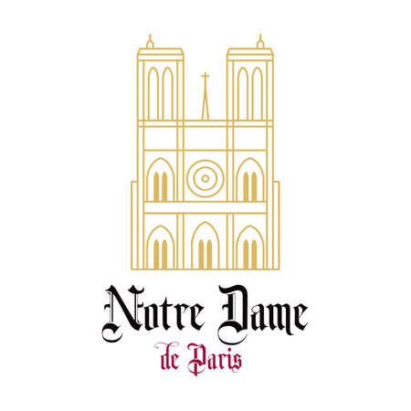 Notre Dame Cathedral line drawn facade. Stylized image of the landmarks of Paris