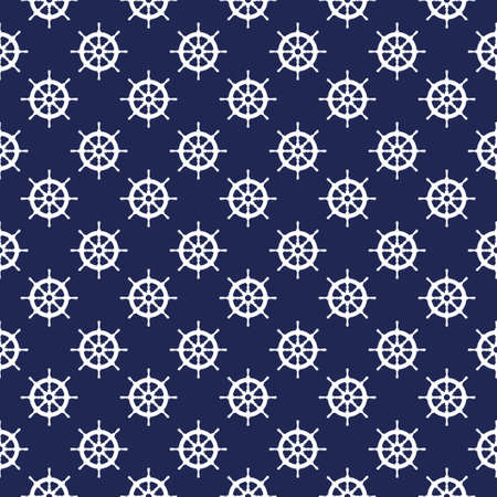 Seamless nautical pattern with steering wheels. Design element for wallpapers