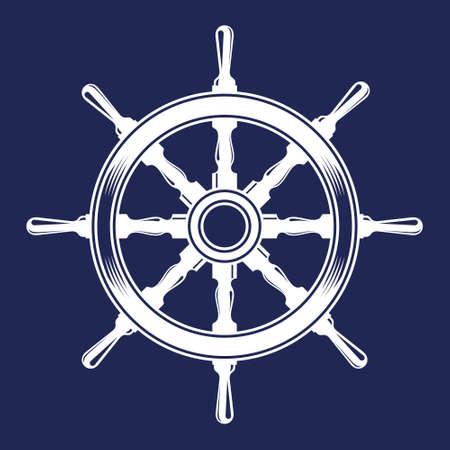 ship steering wheel vintage vector illustration