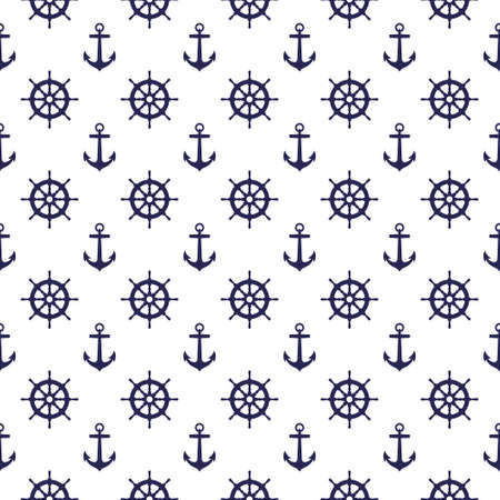 Seamless nautical pattern with anchors and steering wheels. Design element for wallpapers