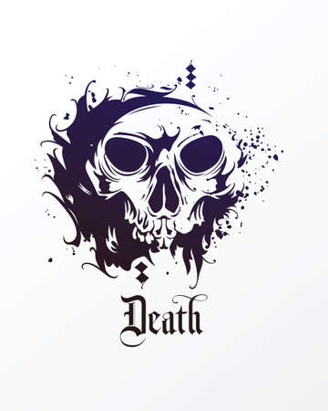 Vector skull in grunge style. Skull illustration ink design