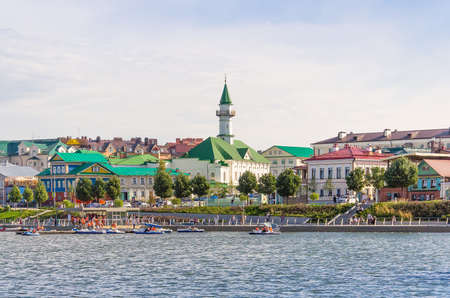 August, 2020, Kazan, Tatarstan: Kaban lake embankment in Kazan, Tatarstan