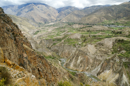 terracing: View of Canyon de Colca, Peru