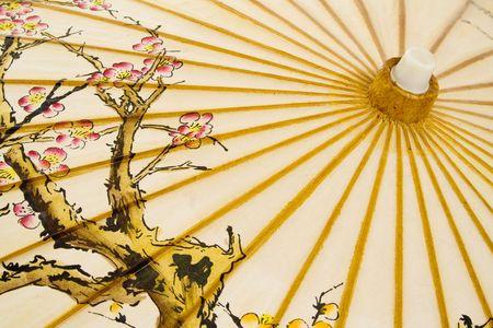 symetry: Detail of Japanese umbrella, isolated on white background. Stock Photo
