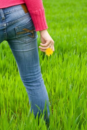 Woman from behind standing in grass, holding flower. Copy space on right. Vertical. photo