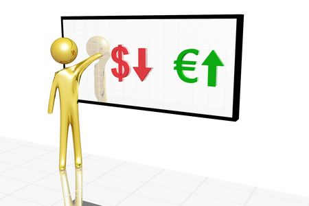 Golden character showing variation of currency value. photo