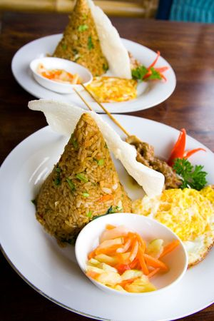 indonesian food: Typical Indonesian food from rice called nasi goreng.