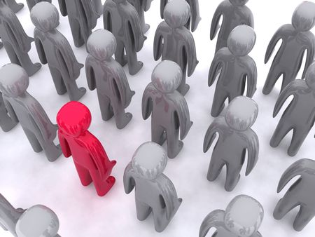 Red character standing out. This is 3d render Stock Photo