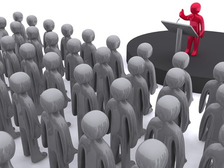 expressing: Character standing on platform and speaking. This image is 3d render.