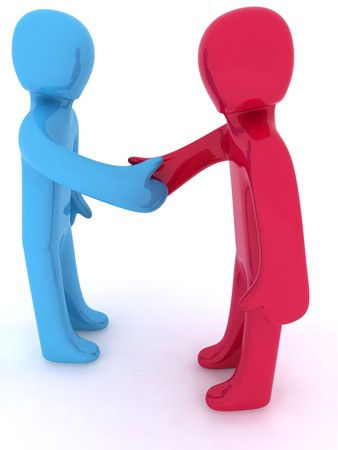Red and blue 3d characters shaking hands.