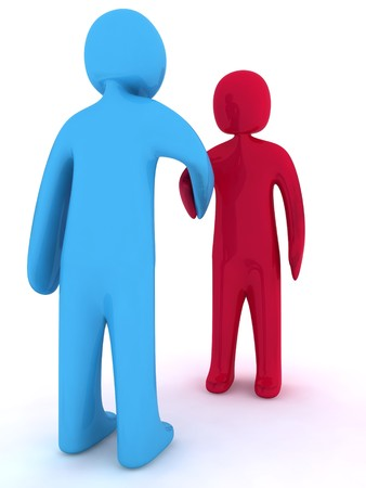 handclasp: Red and blue 3d characters shaking hands.