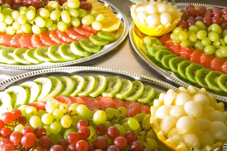 Tasty fruit salad on tray. Multiple fruits. Stock Photo - 4177916