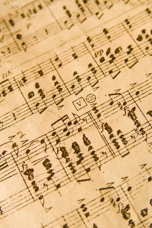 Background image of musical notes. Vintage look.