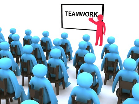 Red character talking about teamwork. This is 3d render. Stock Photo