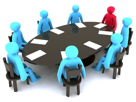 boardroom: Blue and red characters around the table on meeting.
