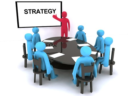 company board: Red characters talking about strategy on meeting.