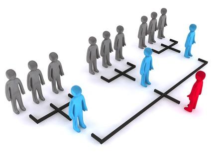 Drei Ebenen der Organisationsstruktur. Dies ist 3d Render.