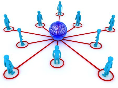 groups of objects: Concept image representing global networking. This image is 3d render. Stock Photo