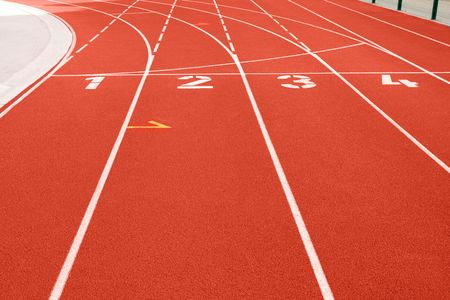 Close up of numbers on red running track. Stock Photo