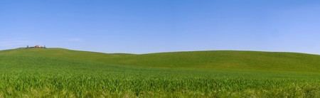 val d orcia: Typical Tuscany landscape combined into panorama (Val d Orcia).