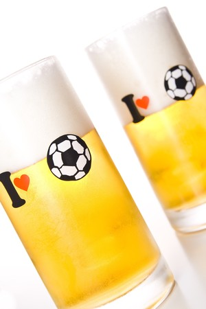 worldcup: Isolated beer glass with message I love football (soccer).