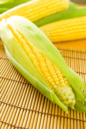 Freshly grown and tasty corn on the cob. photo