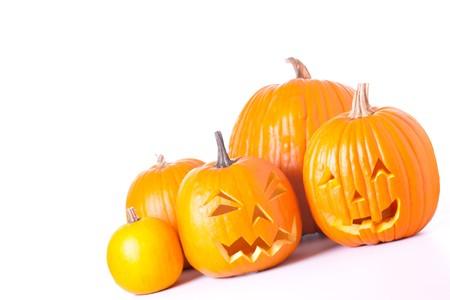 Many orange halloween pumpkins and Jack O Lanterns isolated on white background. Stock Photo - 7894307