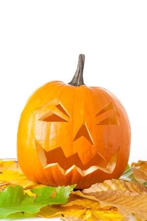 Carved Halloween Jack O Lantern with autumn foliage isolated on white background. Stock Photo - 7944911